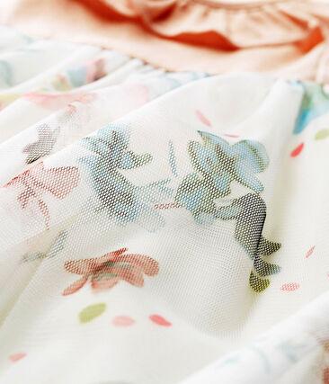 Vestido manga corta de dos materiales para bebé niña