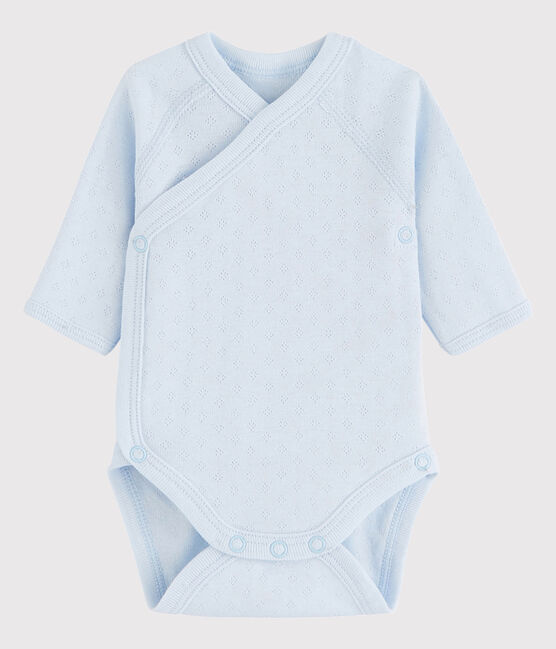 Bodi cruzado de manga larga de bebé niña/niño azul Fraicheur