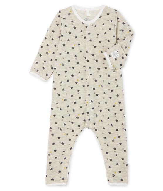 Buzo de bebé largo de lana y algodón beige Montelimar / blanco Multico