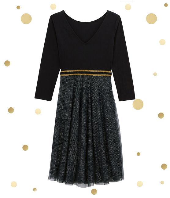 Vestido femenino en bi-materia negro Noir / amarillo Dore