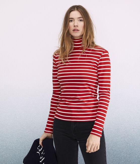 Cuello alto icónico para mujer rojo Terkuit / blanco Marshmallow