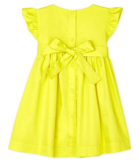 Vestido de manga corta de satén para bebé niña amarillo Eblouis