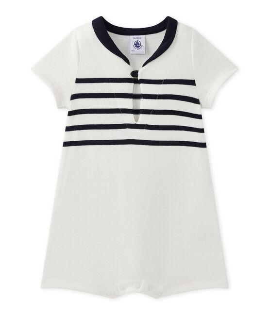 Pelele bebé niño con manga corta blanco Marshmallow / azul Smoking