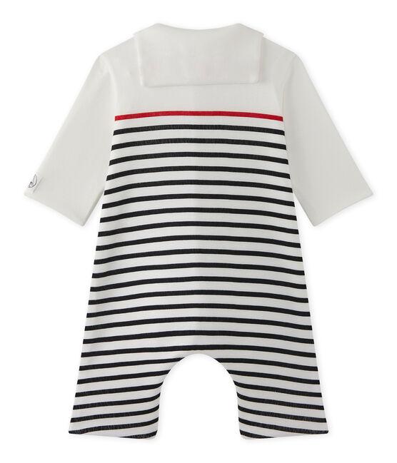 Pelele para bebé niño a rayas con cuello marinero blanco Lait / azul Smoking