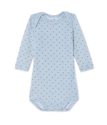 Body de manga larga de lana y algodón para bebé niño azul Fraicheur / gris Tempete