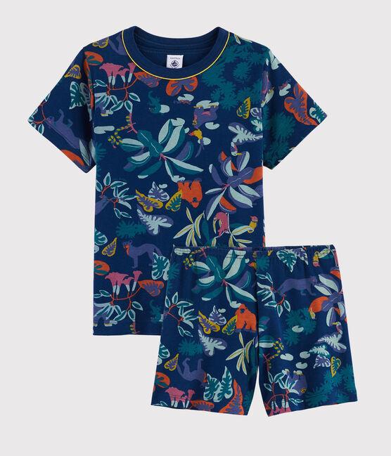 Pijama corto con estampado de jungla de punto para niño pequeño azul Medieval / blanco Multico