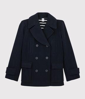 Chaquetón de lana de mujer azul Smoking