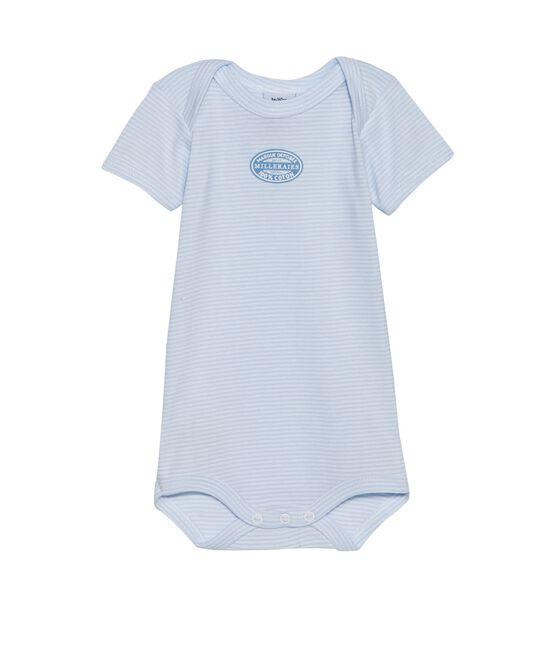 Body de manga corta milrayas para bebé niño azul Fraicheur / blanco Ecume
