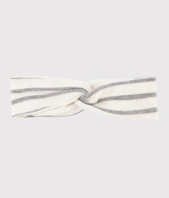 Diadema a rayas para bebé niña blanco Marshmallow / gris Argent
