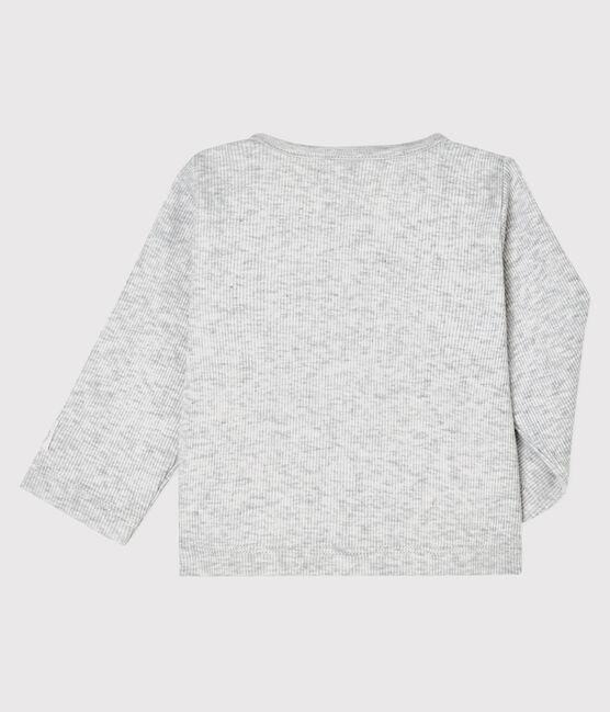 Cárdigan de canalé 2x2 para bebé gris Beluga
