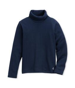 Jersey de cuello alto liso infantil unisex azul Abysse