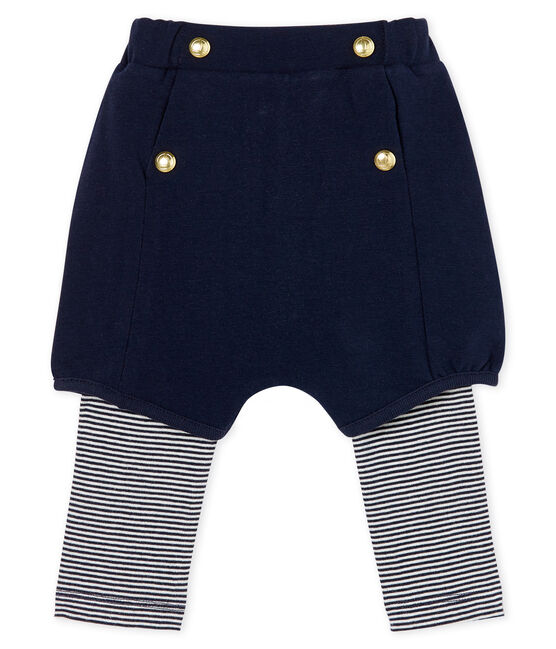 Leggings con shorts para bebé niña azul Smoking / blanco Marshmallow
