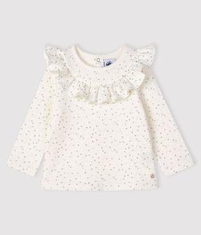 Blusa de manga larga para bebé niña blanco Marshmallow / gris Argent