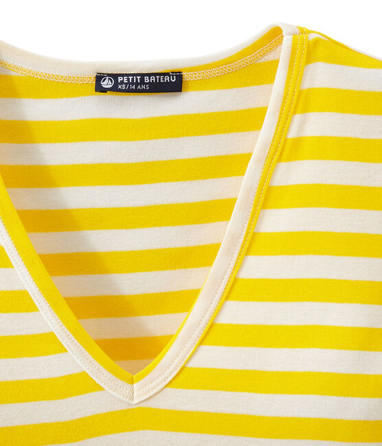 Camiseta de canalé original de rayas con cuello en pico para mujer amarillo Shine / blanco Marshmallow