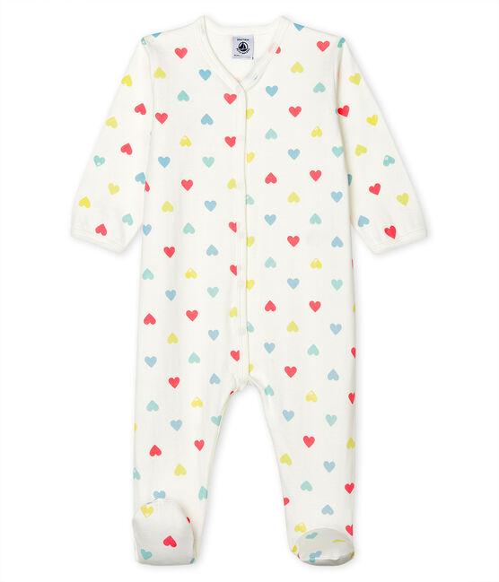 Pijama de tejido túbico para bebé de niña blanco Marshmallow / blanco Multico