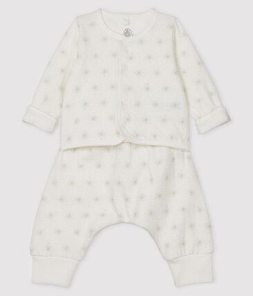 Conjunto de dos piezas para bebé de túbico blanco Marshmallow / beige Perlin