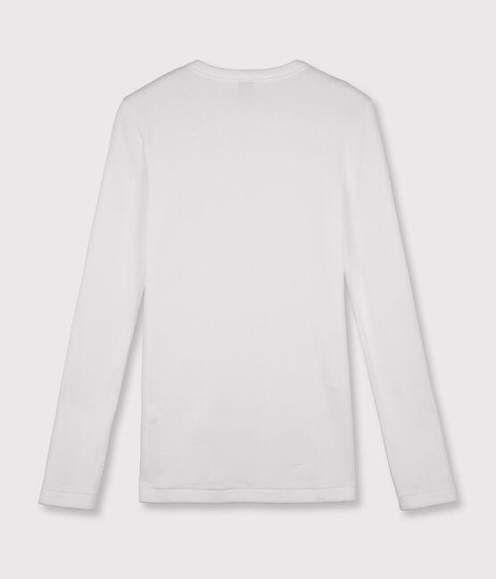 Camiseta de cuello redondo emblemática de algodón de mujer blanco Ecume