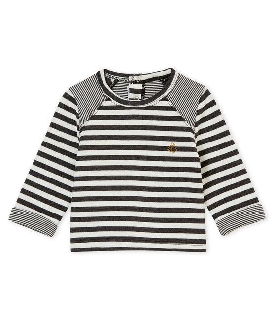 Camiseta a rayas para bebé niño negro City / blanco Marshmallow