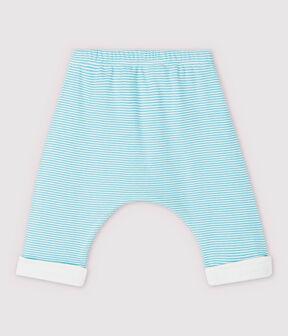 Pantalón forrado de rayas azules de bebé de algodón ecológico azul Tiki / blanco Marshmallow