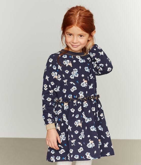 Vestido estampado para niña azul Smoking / blanco Multico