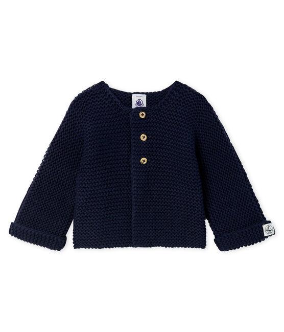 Cárdigan de lana y algodón de punto musgo para bebé niña SMOKING