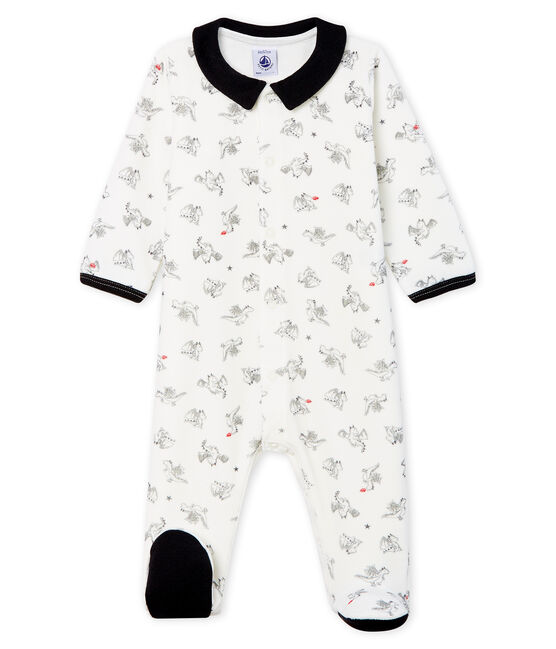 Pijama de terciopelo para bebé niño blanco Marshmallow / blanco Multico