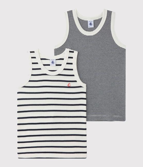Lote de 2 camisetas de tirantes de rayas para niño pequeño lote .