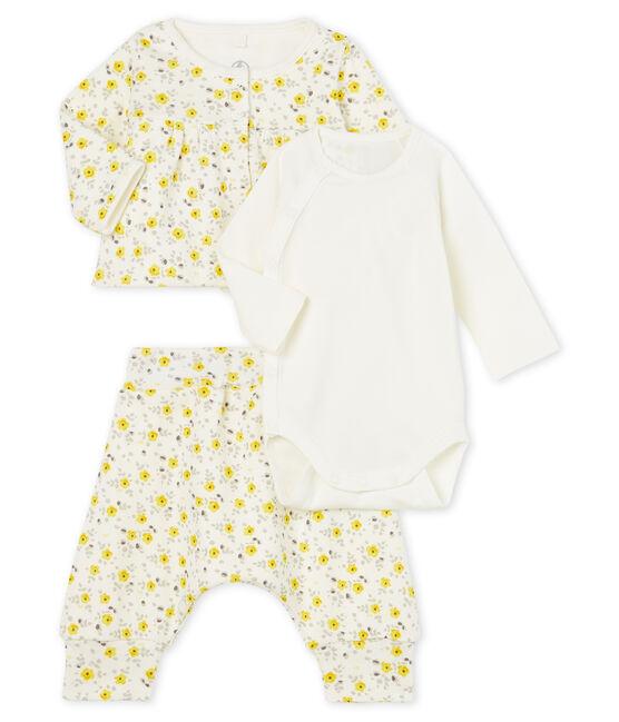 Conjunto de tres piezas para bebé niña de lana y algodón blanco Marshmallow / blanco Multico
