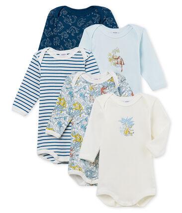Lote de 5 bodis de manga larga de algodón para bebé de niño