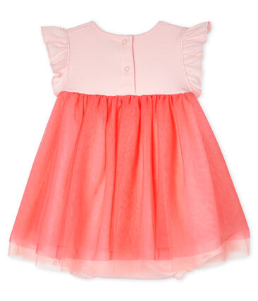 Vestido-bodi de manga corta para bebé niña rosa Minois
