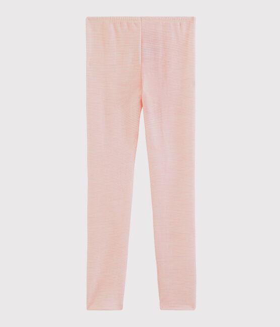 Leggings de lana y algodón mil rayas para niña pequeña rosa Charme / blanco Marshmallow
