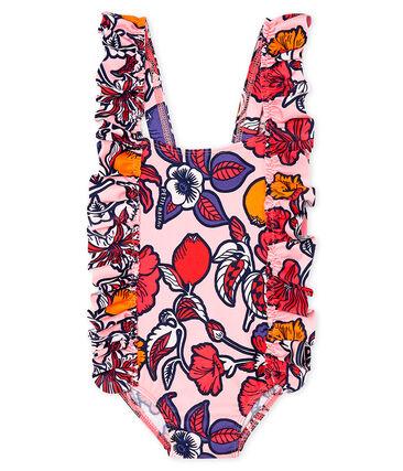 Bañador ecorresponsable bebé niña rosa Merveille / blanco Multico