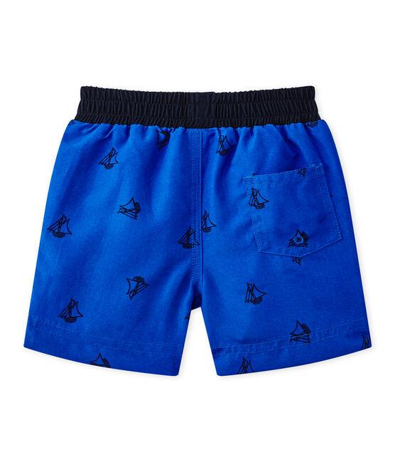 Bañador de playa bebé de niño estampado azul Perse / azul Smoking