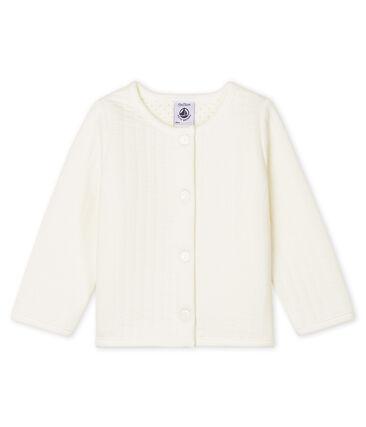 Cárdigan de tejido túbico acolchado para bebé niña blanco Marshmallow