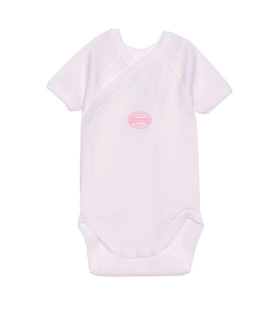 Body de manga corta milrayas de primera puesta para bebé niña rosa Vienne / blanco Ecume