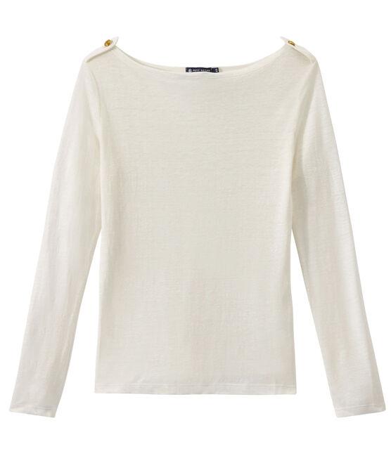 Camiseta manga larga de lino para mujer blanco Lait