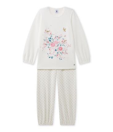 Pijama estampado de niña en terciopelo blanco Lait / amarillo Or