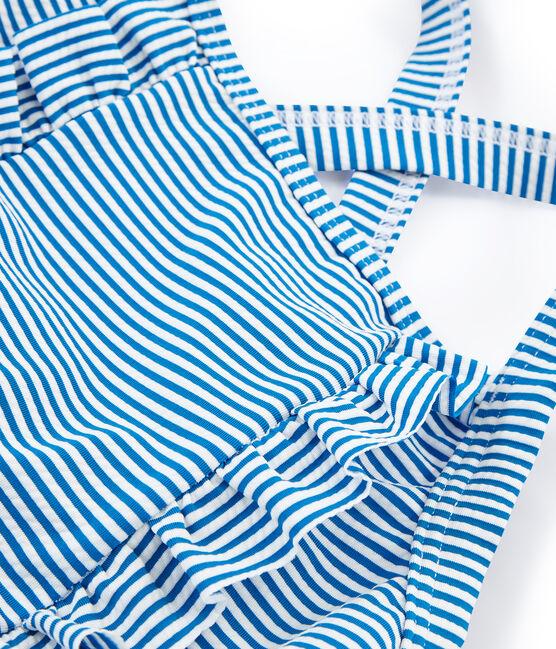 Traje de baño 1 pieza para niña azul Riyadh / blanco Marshmallow