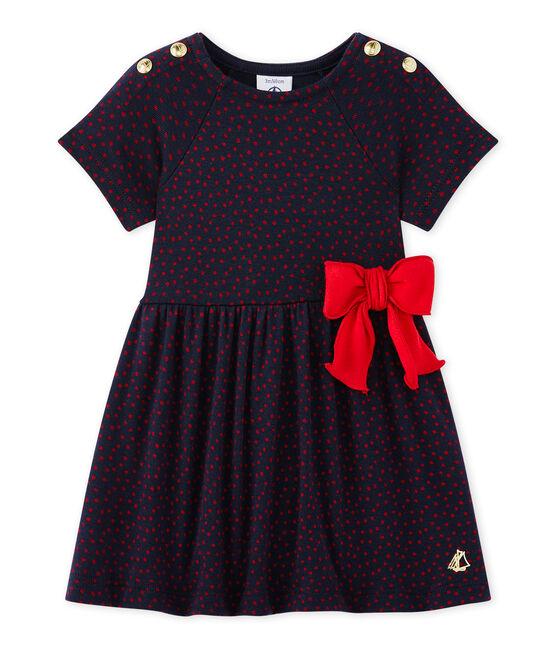 Vestido bebé niña estampado azul Smoking / rojo Terkuit