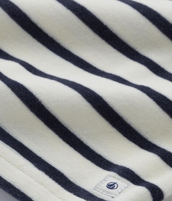 Pijama de terciopelo para niña beige Coquille / azul Smoking