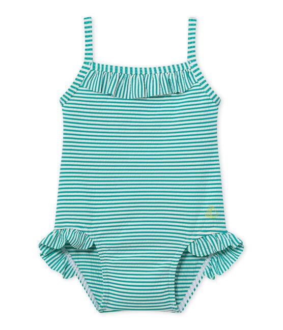 Bañador para bebé niña verde Flag / blanco Lait