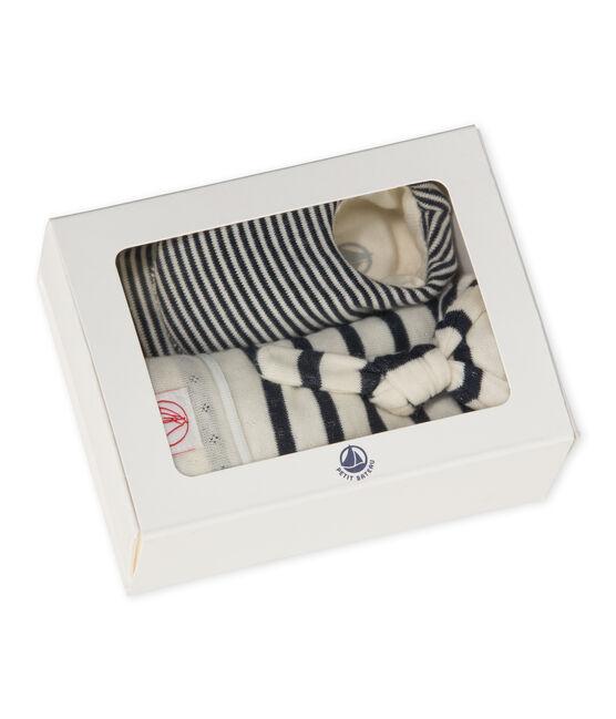 Conjunto de gorro y calcetines para bebé beige Coquille / azul Smoking
