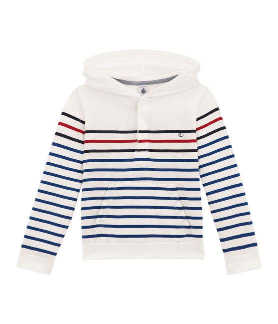 Camiseta con capucha de manga larga blanco Marshmallow / azul Smoking