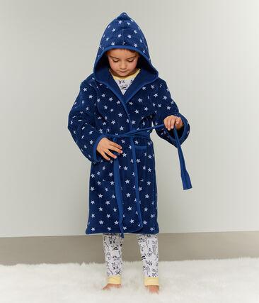 Bata de casa infantil de polar azul Medieval / blanco Marshmallow