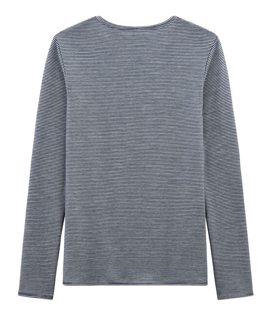 Camiseta de manga larga muy cálida para mujer azul Smoking / blanco Marshmallow