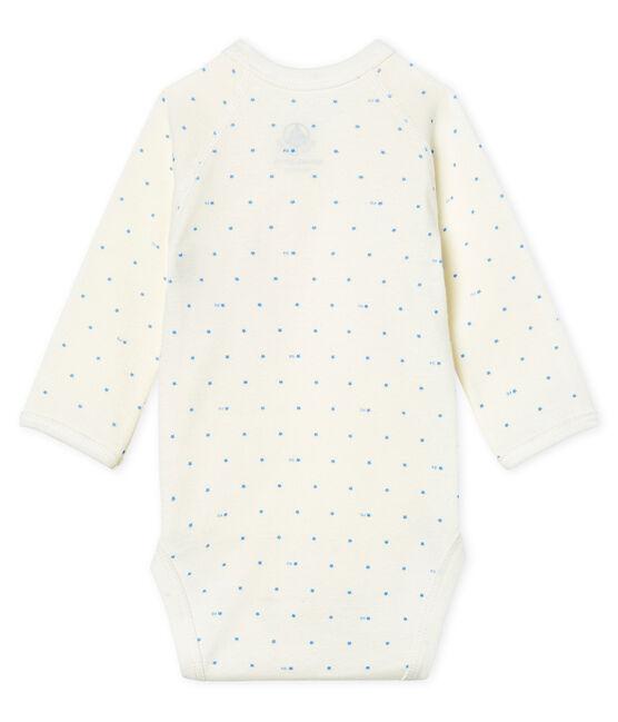 Body de nacimiento manga larga para bebé blanco Marshmallow / azul Acier