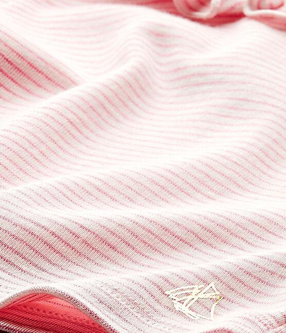 Camiseta bebé niña a rayas blanco Marshmallow / rosa Petal