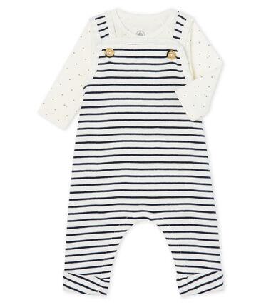 Conjunto de dos piezas para bebé niño de punto blanco Marshmallow / azul Smoking