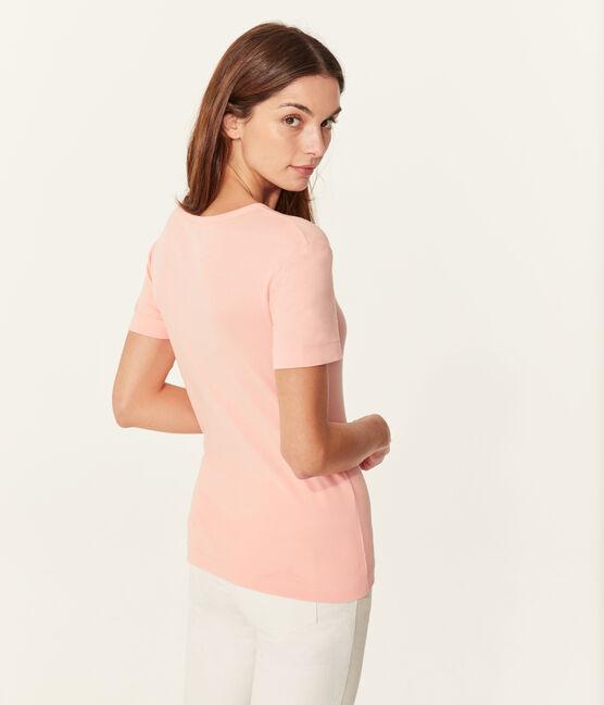 Camiseta manga corta de cuello pico para mujer rosa Rosako