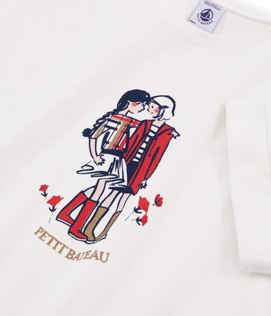 Camiseta de manga corta para niña blanco Marshmallow
